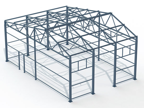 Проект металлической конструкции 117 кв.м. 13х9х4,7 м